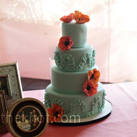 Beautiful Mint Poppy Wedding Cake Found On The Knot
